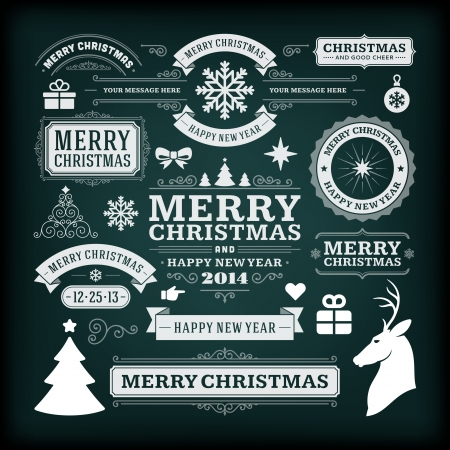 chalk board: Christmas decoration vector design elements collection  Typographic elements, vintage labels, frames, ribbons, chalk set  Flourishes calligraphic