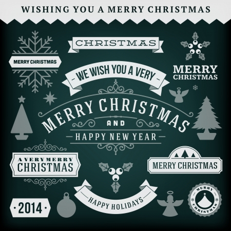 Christmas decoration vector design elements collection  Typographic elements, vintage labels, frames, ribbons, chalk set  Flourishes calligraphic Stock Vector - 23262347