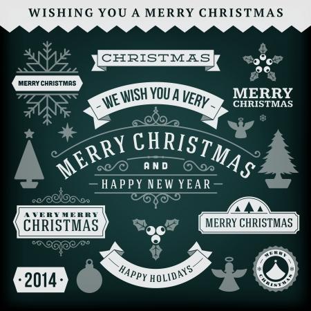 christmas design: Kerst decoratie vector design elementen collectie typografische elementen, vintage labels, frames, linten, krijt set bloeit kalligrafische