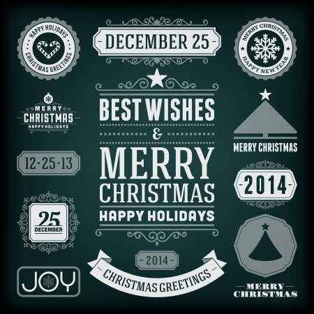 Christmas decoration vector design elements collection  Typographic elements, vintage labels, frames, ribbons, chalk set  Flourishes calligraphic   Vector