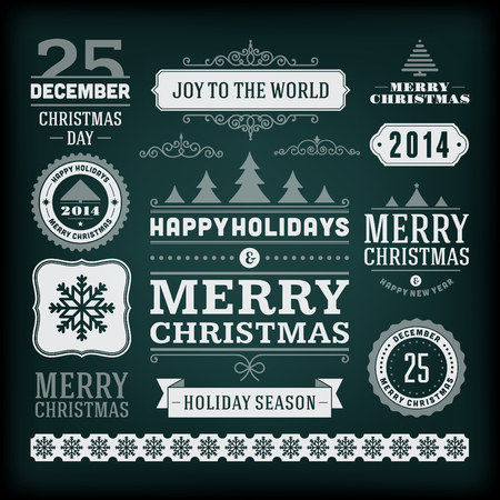 seasons greetings: Christmas decoration vector design elements collection  Typographic elements, vintage labels, frames, ribbons, chalk set  Flourishes calligraphic