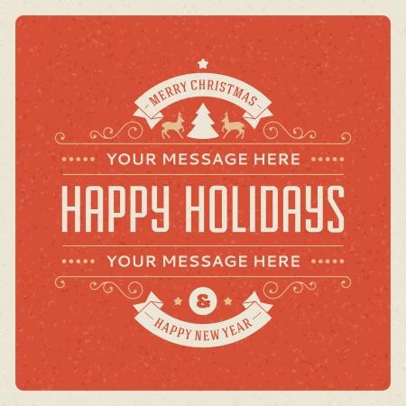 glücklich: Weihnachtspostkarte Ornament Dekoration Hintergrund Vektor-Illustration EPS 10 Frohes neues Jahr Nachricht, frohe Feiertage wünschen Illustration