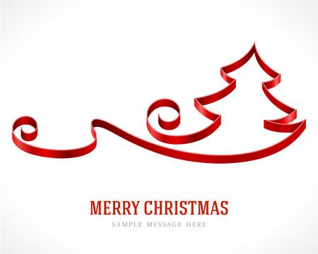 christmas: Kırmızı şerit arka plan vektör resimde Noel ağacı 10 EPS