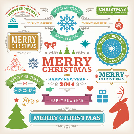 merry christmas text: Christmas decoration vector design elements collection  Typographic elements, vintage labels, frames, ribbons, set  Flourishes calligraphic