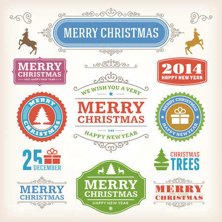 Christmas decoration vector design elements collection  Typographic elements, vintage labels, frames, ribbons, set  Flourishes calligraphic Stock Vector - 23213892