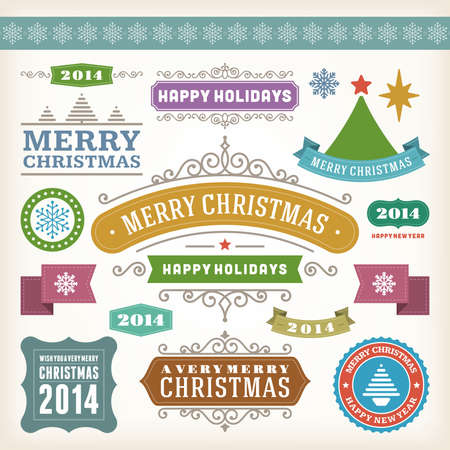 Christmas decoration vector design elements collection  Typographic elements, vintage labels, frames, ribbons, set  Flourishes calligraphic   Vector