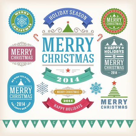 Christmas decoration vector design elements collection  Typographic elements, vintage labels, frames, ribbons, set  Flourishes calligraphic   Stock Vector - 23213921