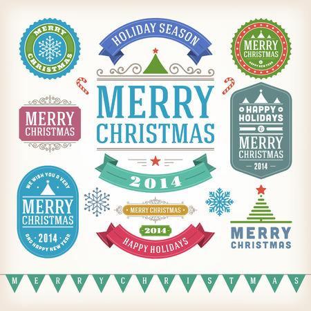 christmas design: Kerst decoratie vector design elementen collectie typografische elementen, vintage labels, frames, linten, set bloeit kalligrafische Stock Illustratie