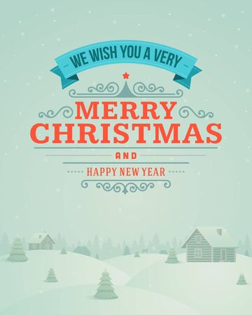 christmas village: Merry Christmas greeting card ornament decoration background  Vector illustration Happy new year message, Happy holidays wish   Illustration