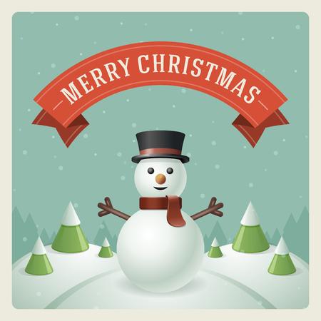 芸術的: 雪だるま背景ベクトル イラストとメリー クリスマスのグリーティング カード