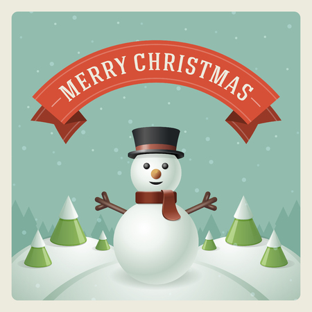 Merry Christmas greeting card with snowman background  Vector illustration  Illustration