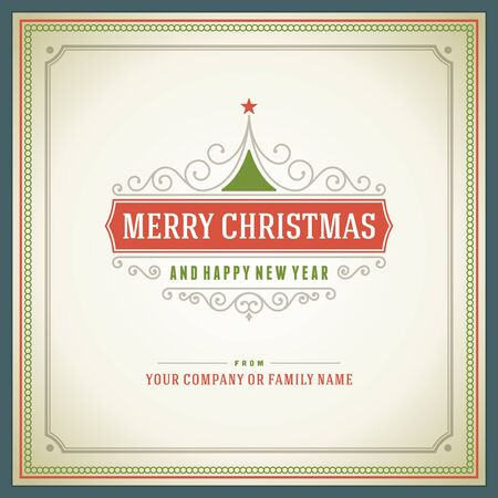 greeting card: Merry Christmas greeting card ornament decoration background  Vector illustration   Happy new year message, Happy holidays wish