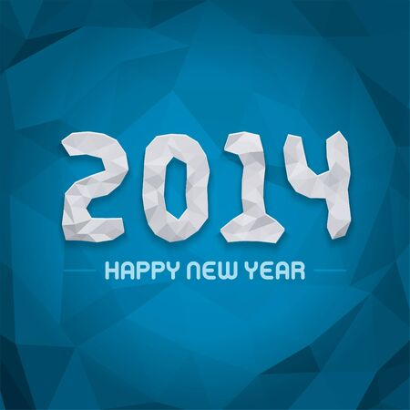 New year - 2014 origami message design vector background  Happy new year text and 3d numbers greeting card   Vector