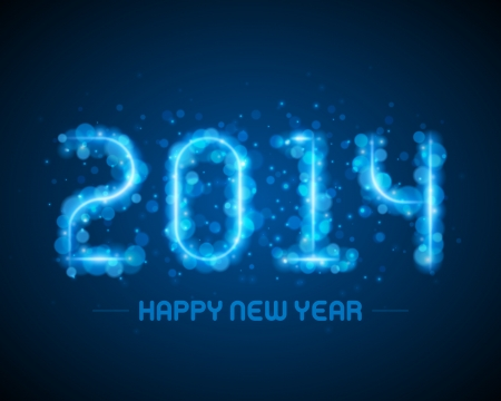 caligraphic: Happy new year - 2014 message and abstract light design vector background greeting card
