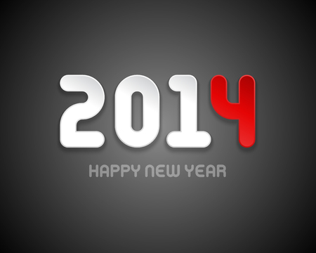 New year - 2014 message design vector background  Happy new year text and 3d numbers greeting card   Vector