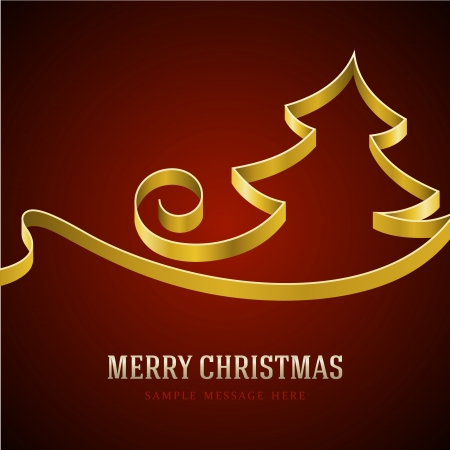 Christmas yellow tree from ribbon background  Vector illustration Eps 10  Vector
