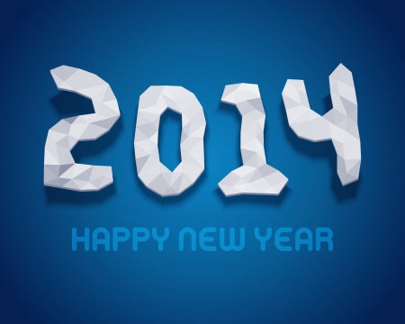 caligraphic: New year - 2014 origami message design vector background  Happy new year text and 3d numbers greeting card