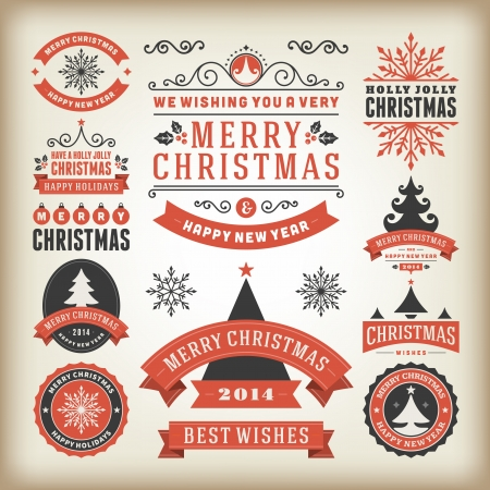 Christmas decoration vector design elements collection  Typographic elements, vintage labels, frames, ribbons, set  Flourishes calligraphic Stock Vector - 23701786