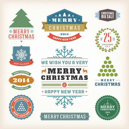 Christmas decoration vector design elements collection  Typographic elements, vintage labels, frames, ribbons, set  Flourishes calligraphic Stock Vector - 23701790