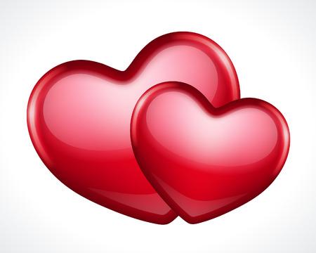 Dvě lesklé srdce tvar vektorové ilustrace Oslavte den