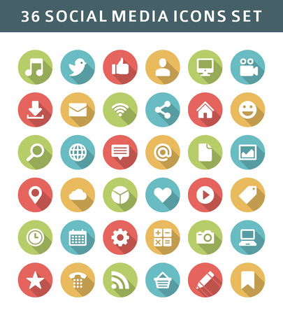 set shape: Web site vector icons set shadow effect  Social media design elements for design   Illustration