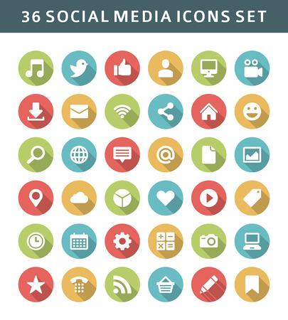 Website vector pictogrammen schaduw effect Social media design elementen voor ontwerp