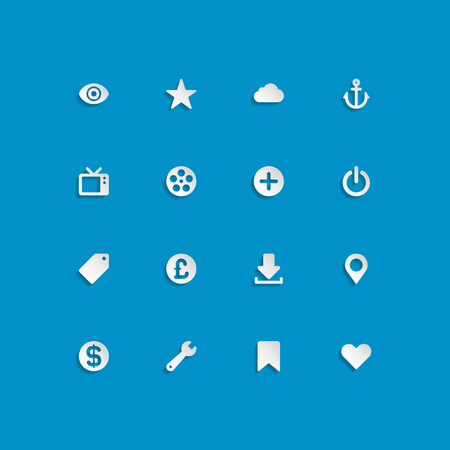 Web site vector icons set bend paper effect  Vector design elements for design  Stock Vector - 25438198