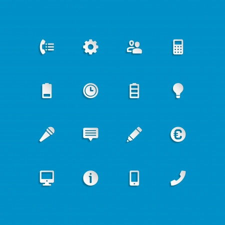 Web site vector icons set bend paper effect  Vector design elements for design  Vector