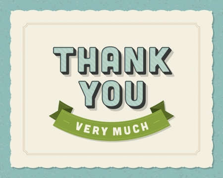 with thanks: Thank you message card retro lettering typography  Vector background