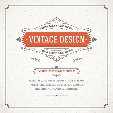 elegant border: Vintage design template  Retro card and place for text