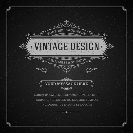 place card: Vintage design template  Retro card and place for text