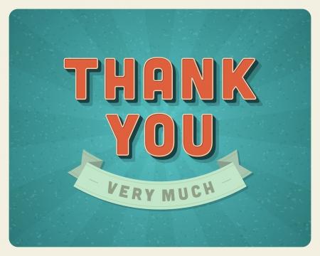 te: Mensaje de agradecimiento tarjeta de retro letras tipograf�a de fondo Vector