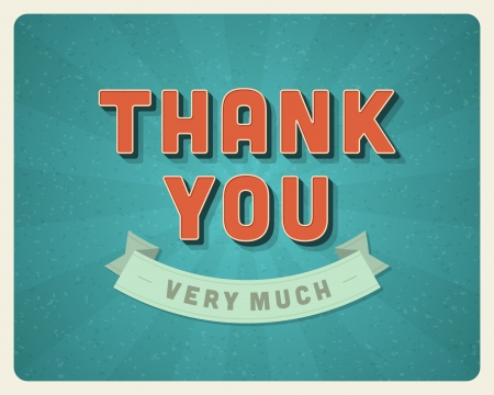 Thank you message card retro lettering typography  Vector background   Vector