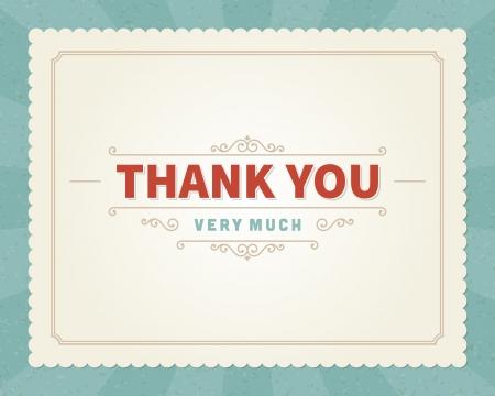 ありがとうメッセージ カード レトロ レタリング タイポグラフィのベクトルの背景  イラスト・ベクター素材