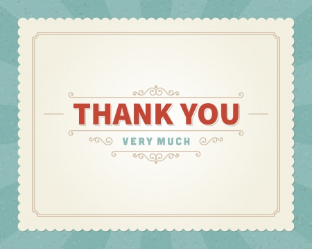 a card: Thank you message card retro lettering typography  Vector background