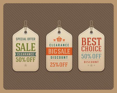 promo: Vintage sale tags vector design elements  Retro style
