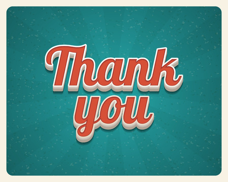 Thank you message card retro lettering typography Vector background