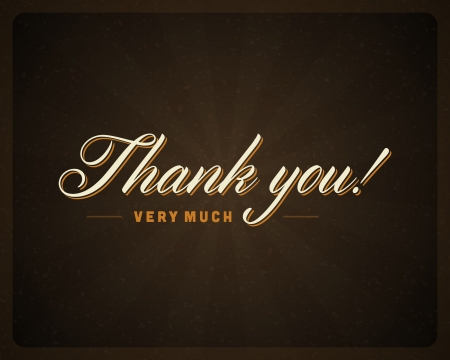 message vector: Thank you message card retro lettering typography  Vector background