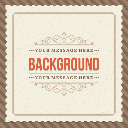 place card: Vintage background design template  Retro card and place for text   Illustration