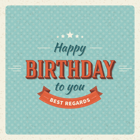 Vintage happy birthday vector card background  Retro happy birthday message  Vector