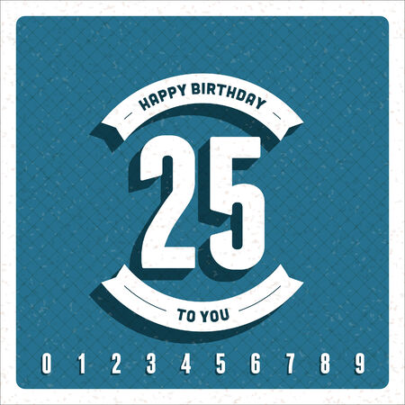 Vintage happy birthday vector card background  Retro happy birthday message and years numbers   Vector