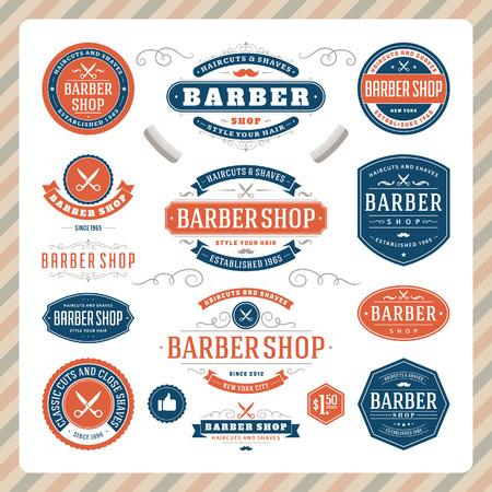antique paper: Barber shop vintage retro flourish and calligraphic typographic design elements  Illustration