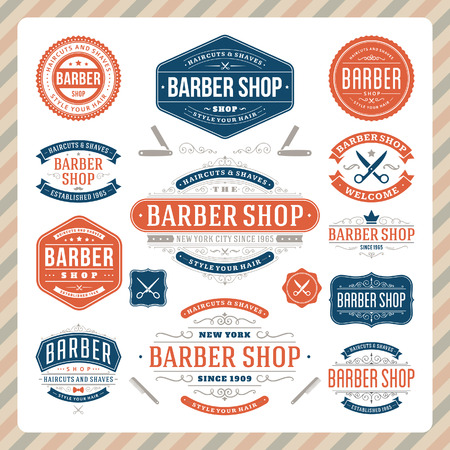 barber: Barber shop vintage retro flourish and calligraphic typographic design elements  Illustration