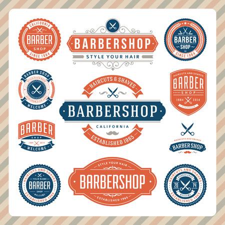 barbers shop: Barber shop vintage retro flourish and calligraphic typographic design elements  Illustration