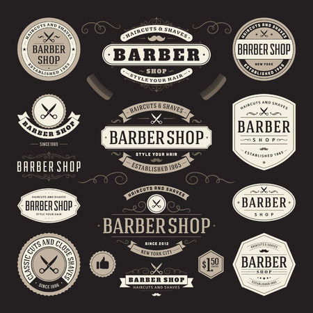 Barber shop vintage retro flourish and calligraphic typographic design elements Vector