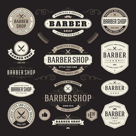 negozio: Barbiere annata retrò fiorire e design tipografico elementi calligrafici