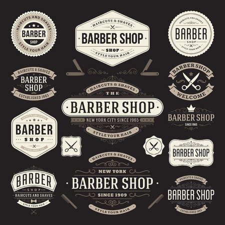 barber scissors: Barber shop vintage retro flourish and calligraphic typographic design elements Illustration