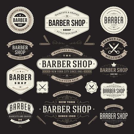 barber shop: Kapperszaak vintage retro bloeien en kalligrafische typografisch ontwerp elementen Stock Illustratie
