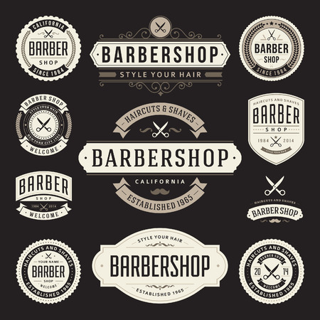 hair salon: Barber shop vintage retro flourish and calligraphic typographic design elements Illustration
