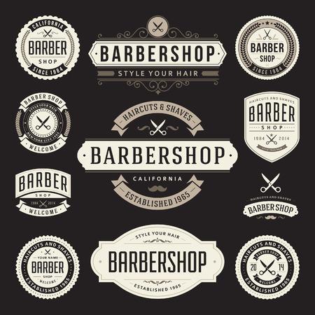 Salon de coiffure rétro s'épanouir et éléments conception typographique calligraphique Illustration